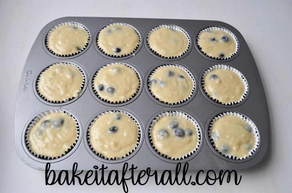 muffin pan filled with muffin batter