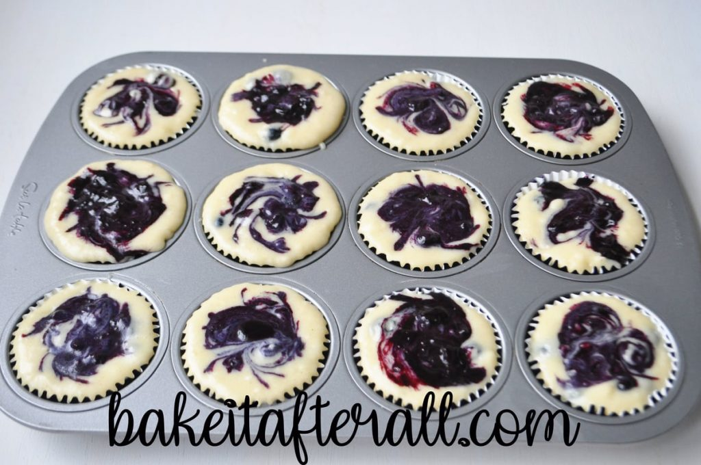 all the muffins with the jam swirled into batter before baking