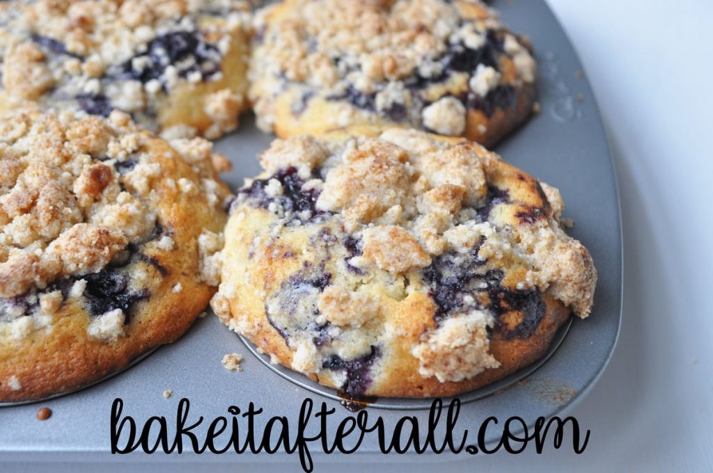 baked blueberry muffins with streusel topping