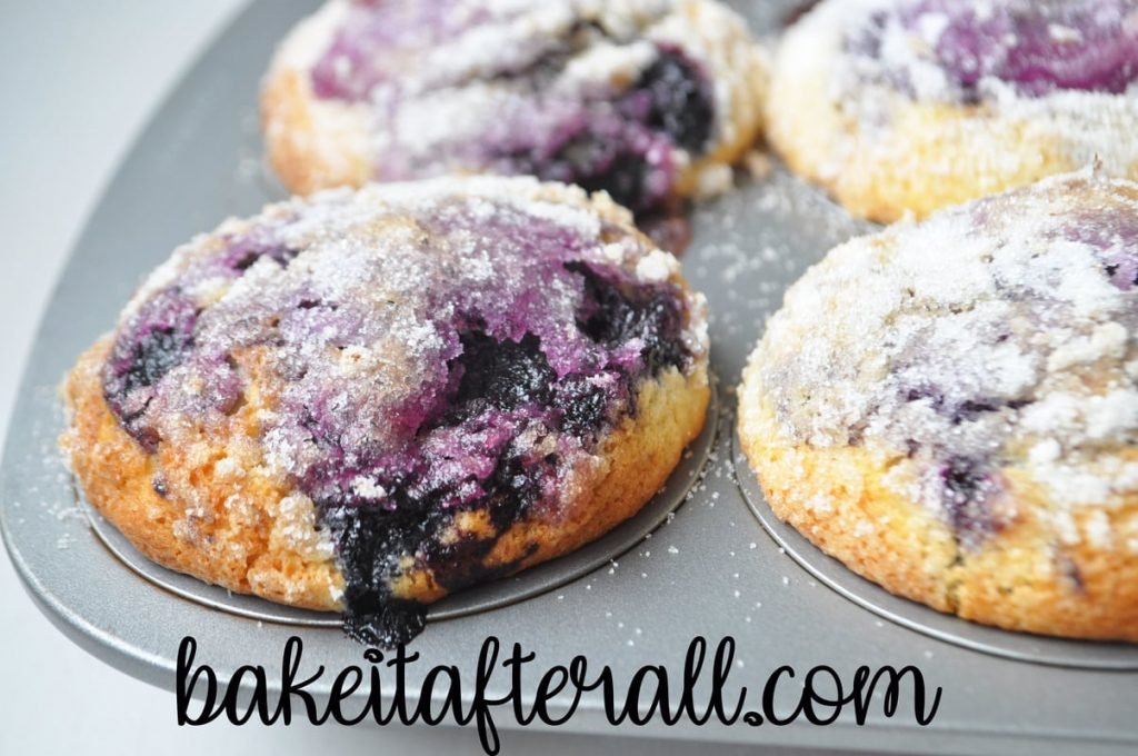 baked blueberry muffins with lemon sugar topping