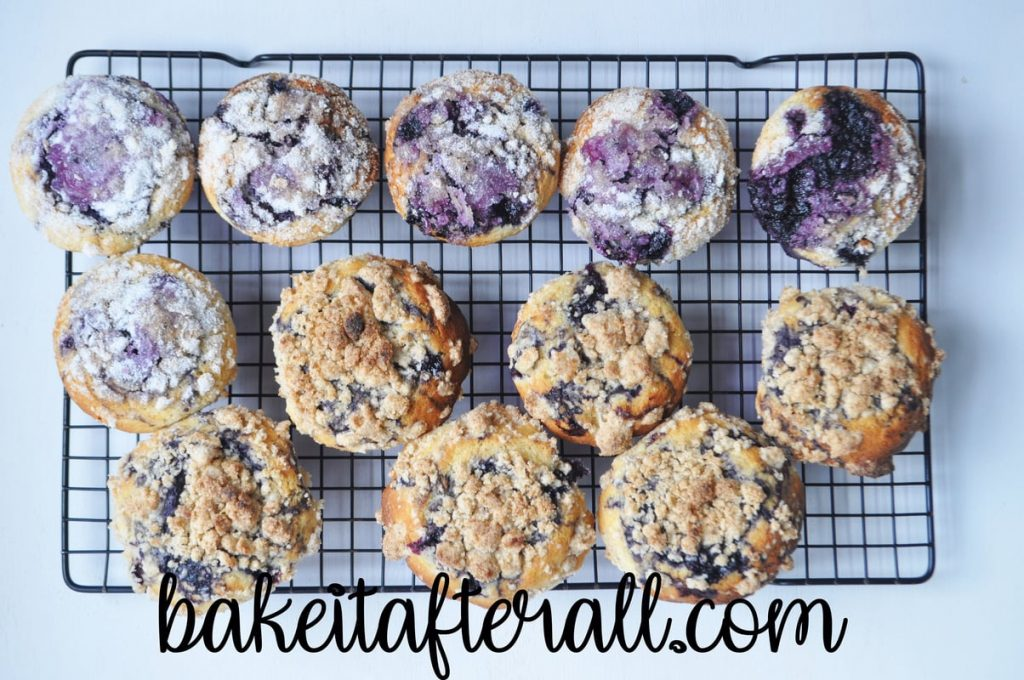 muffins on a cooling rack overhead shot