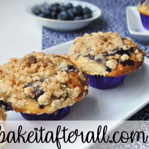 best blueberry muffins with steusel topping on a white plate