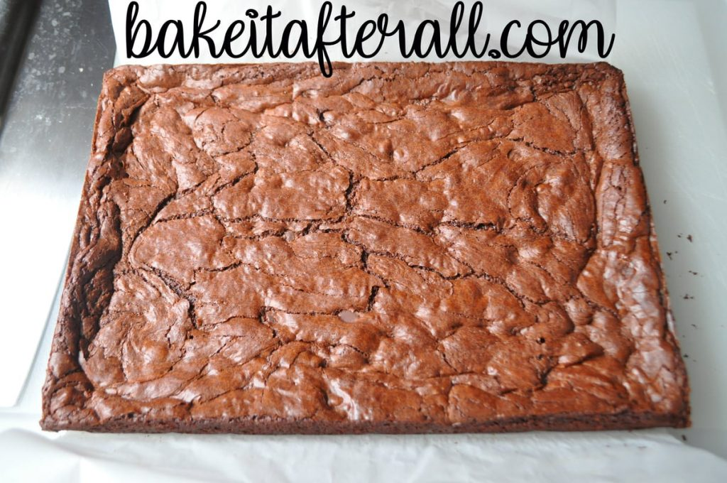 cooked brownies on a cutting board