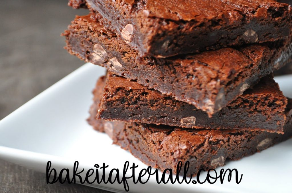 up close view of outrageous brownies stack