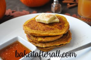 pumpkin pancakes on a white plate