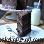 chocolate layer cake on a plate with a fork