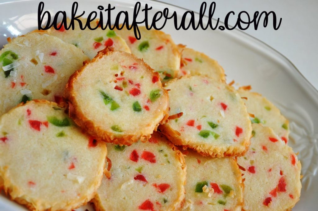 Santa's Whiskers Fruitcake Cookies on a plate