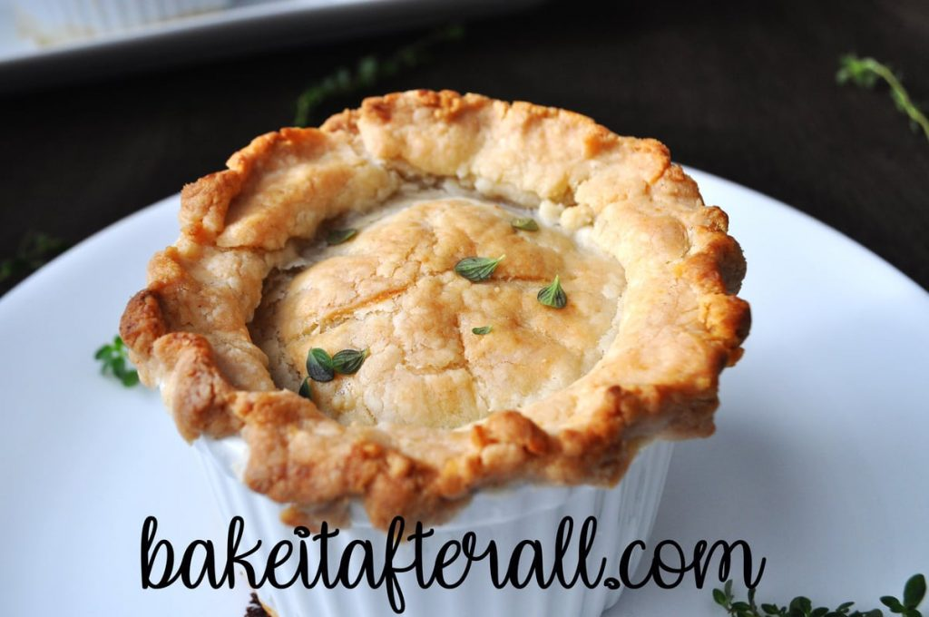 Costco Chicken Pot Pie in a ramekin on a plate