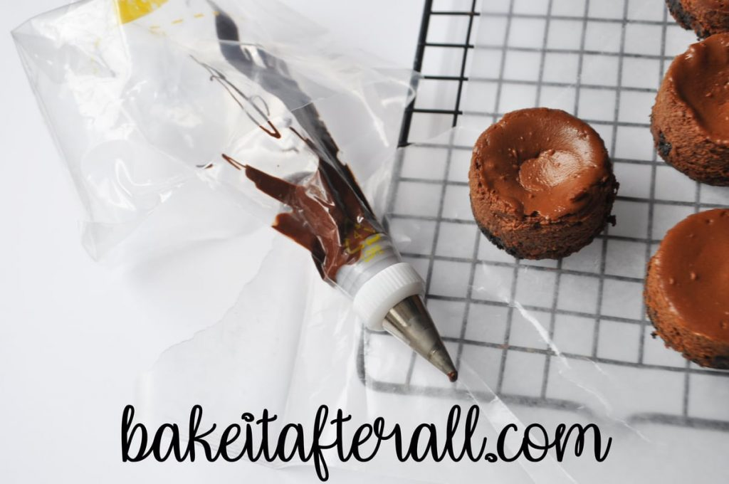 piping bag filled with melted chocolate