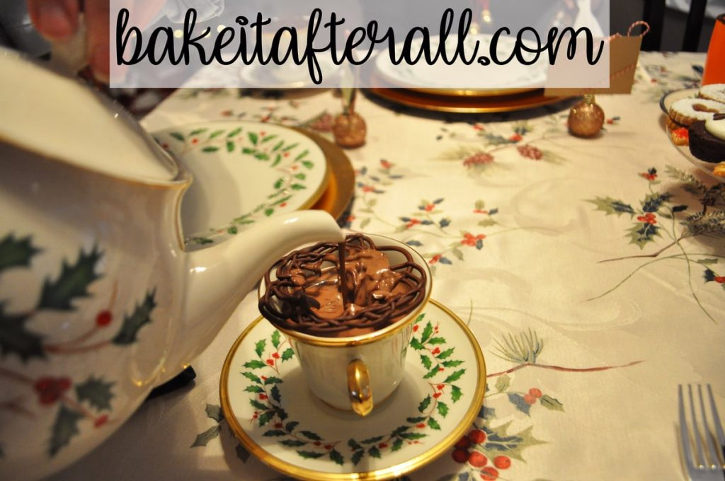 Fancy Hot Chocolate in a holiday tea cup