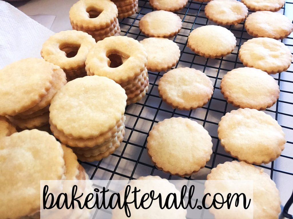 unfilled cookies on a cooling rack