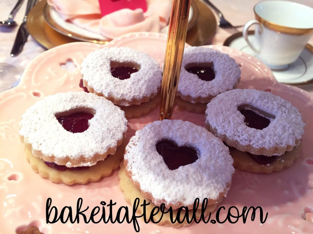Nut Free Linzer Cookies on a 3 tiered server
