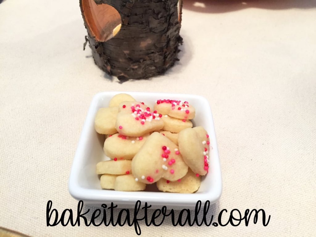 Mini heart cookies in a square dish