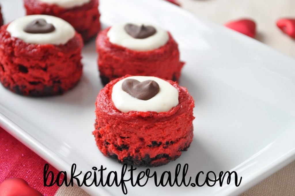 Mini Red Velvet Cheesecakes on a plate