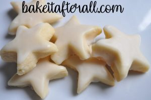 Iced Vanilla Shortbread Cookies shaped as stars