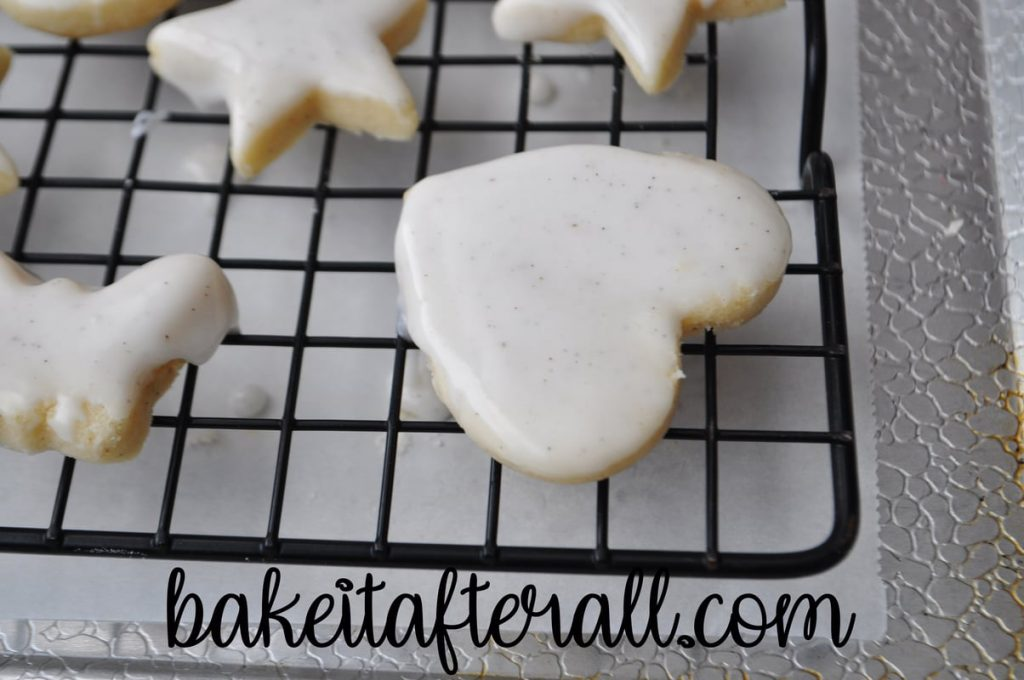 iced cookie on a cooling rack