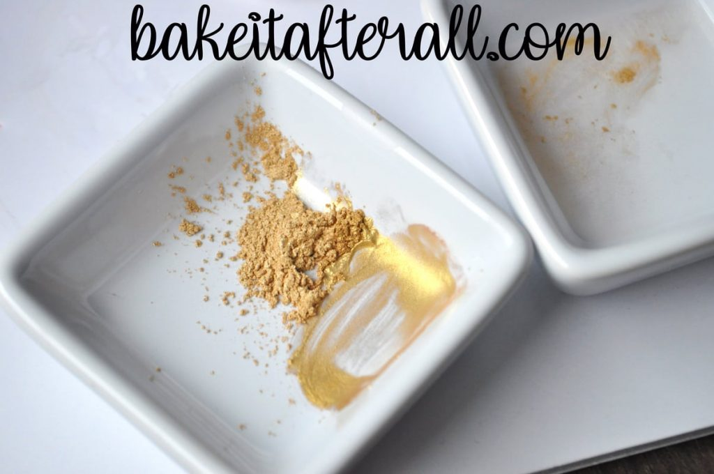 gold luster dust in a small dish