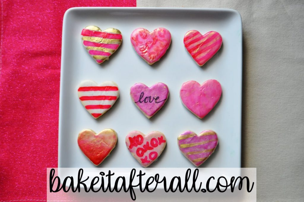 Painted Watercolor Cookies on Iced Vanilla Shortbread Cookies decorated as hearts