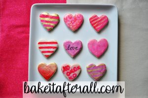 Painted Watercolor Cookies onIced Vanilla Shortbread Cookies decorated as hearts