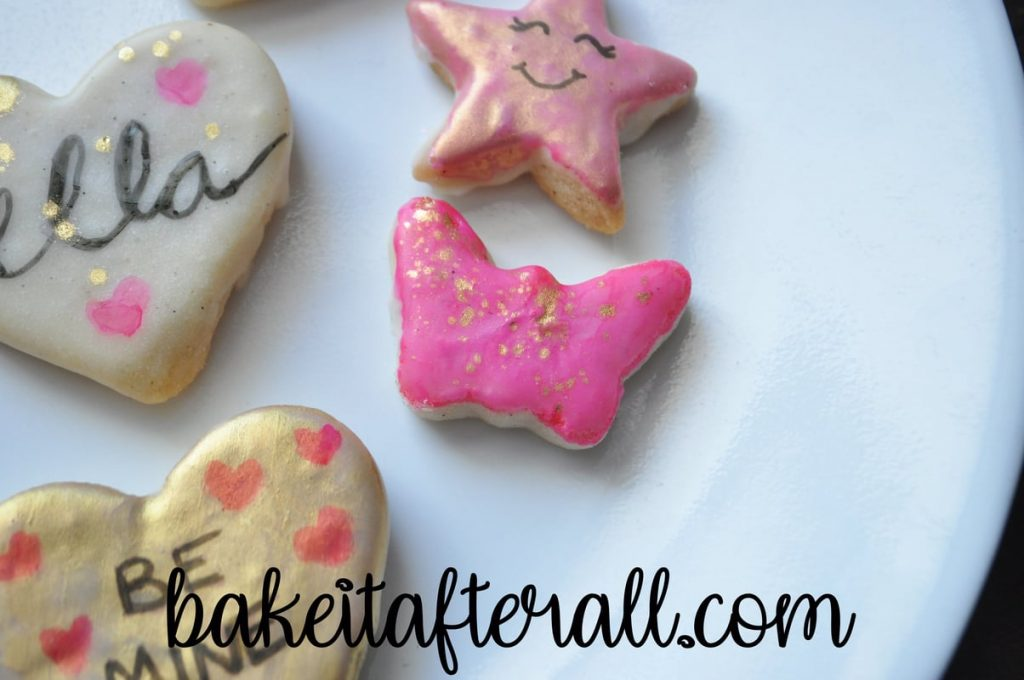 gold splattered painted water color cookies