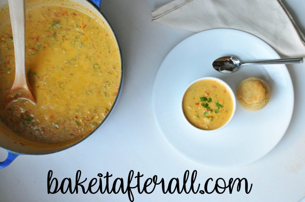 Gluten Free Broccoli Cheddar Soup in a ramekin and a pot
