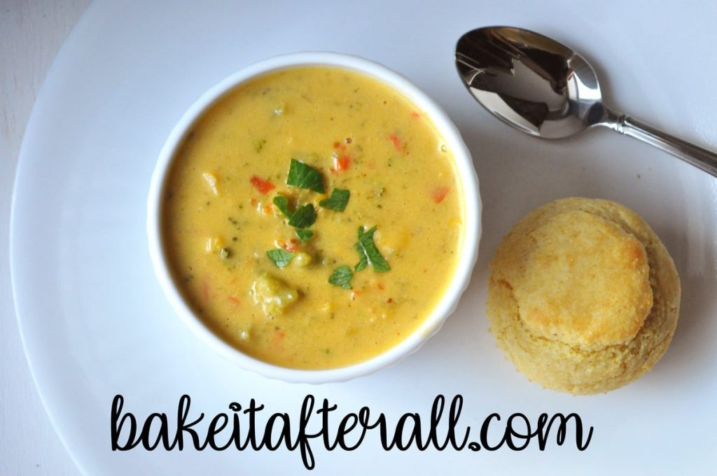 Gluten Free Broccoli Cheddar Soup in a bowl