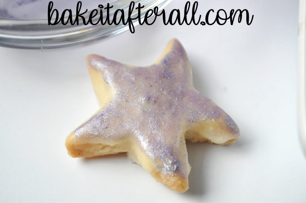 starfish cookie painted with purple luster dust