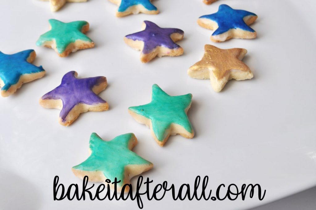 Painted Starfish Cookies on a plate