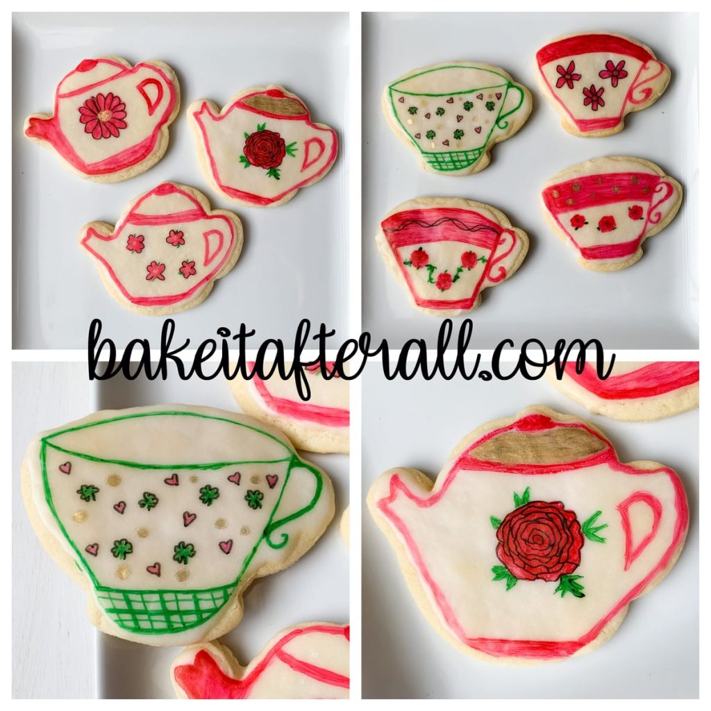 Painted Watercolor Cookies Teapots and Teacups