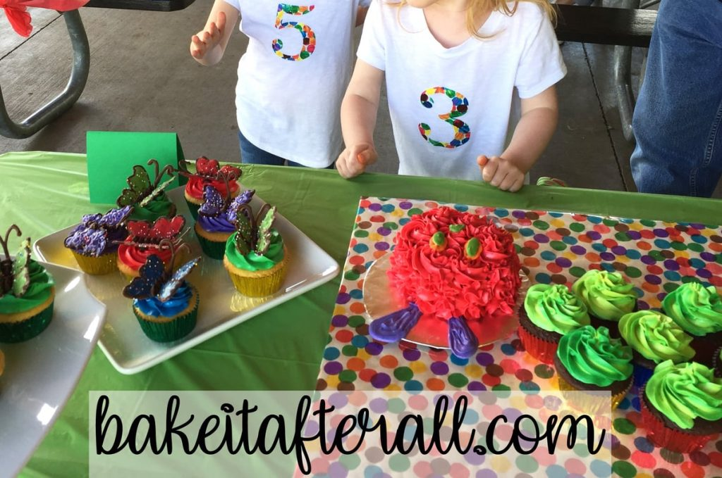 kids by butterfly cupcakes