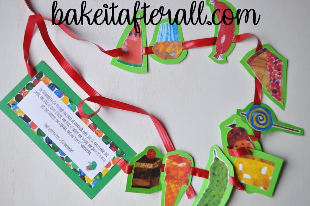 cardstock cutouts of the story of the Very Hungry Caterpillar