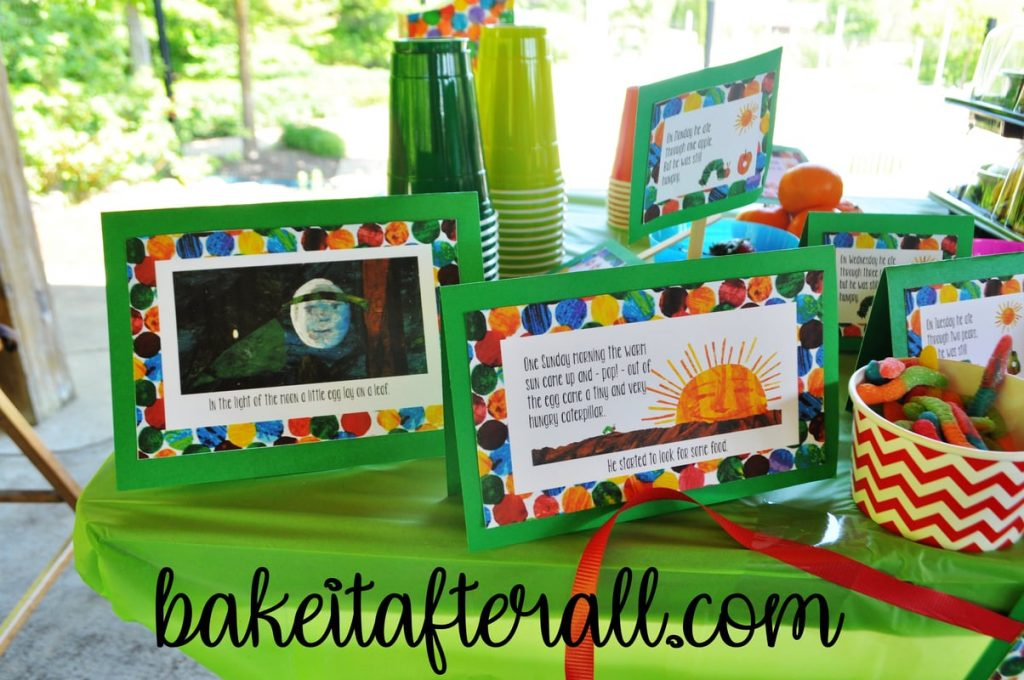 Very Hungry Caterpillar story on the food table