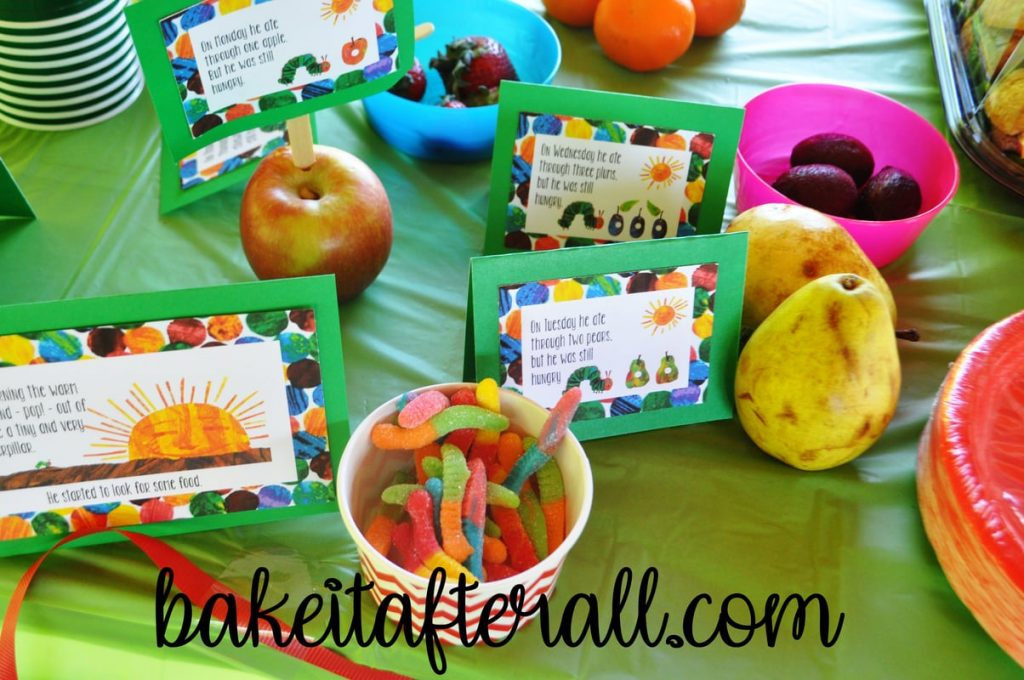 apples, pears, and gummy worms