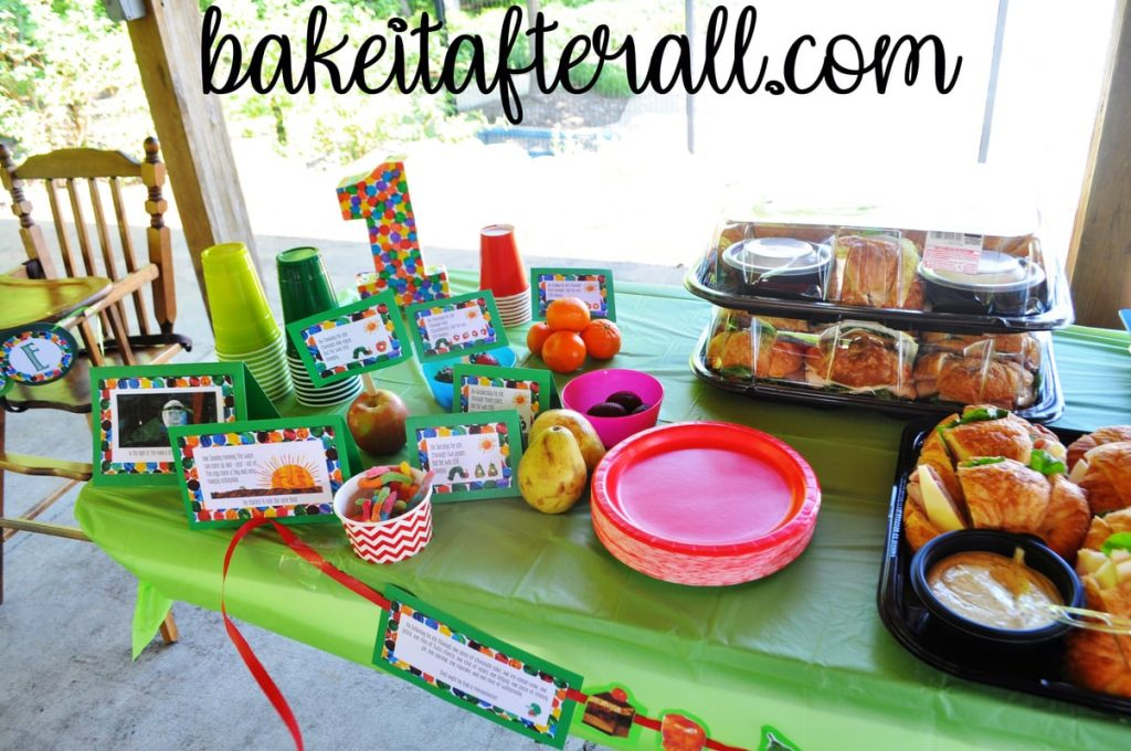 food table at Very Hungry Caterpillar Birthday