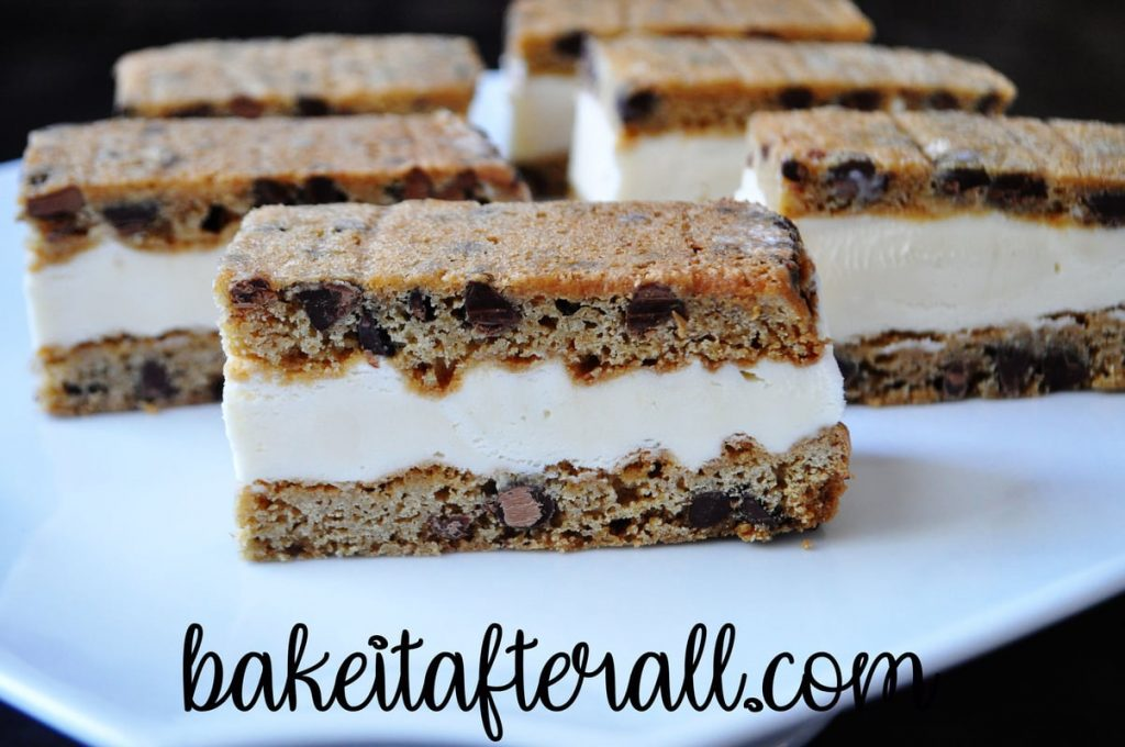 Chocolate Chip Cookie Ice Cream Sandwiches on a white platter