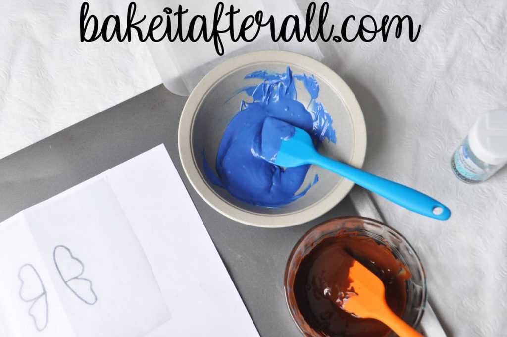 bowl of melted blue candy melts