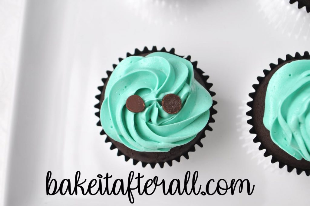 single cupcake with buttercream and 2 chocolate chips on top