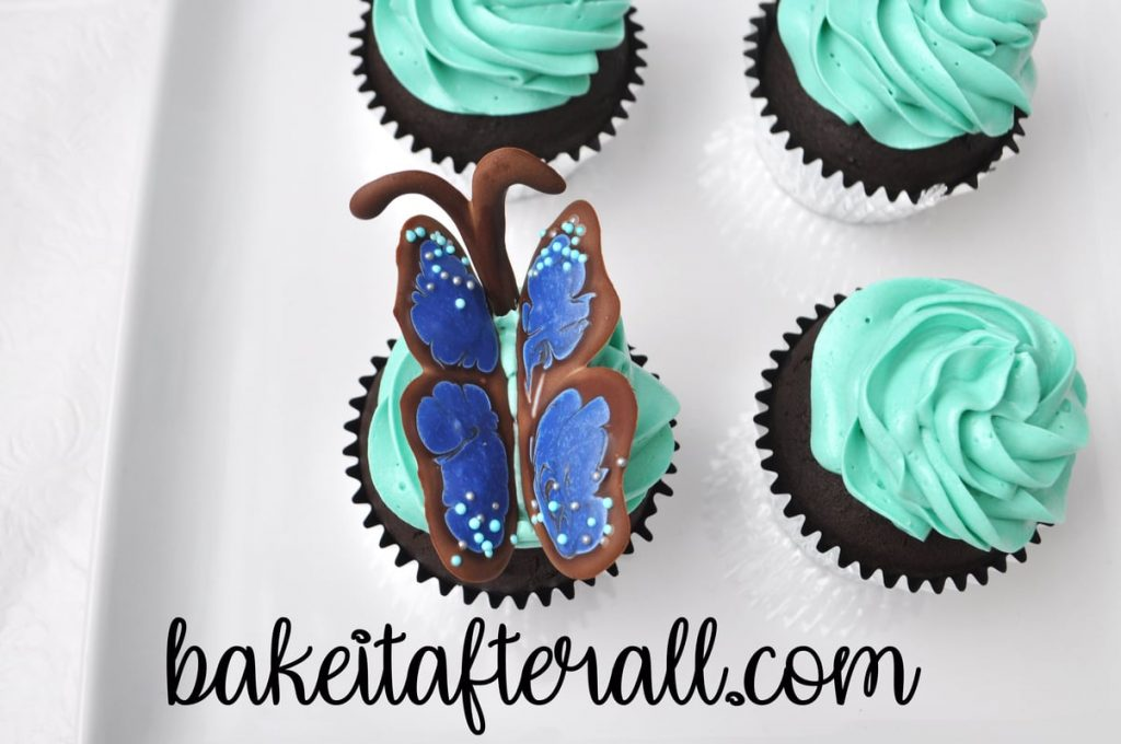 butterfly wings and antenna in a cupcake