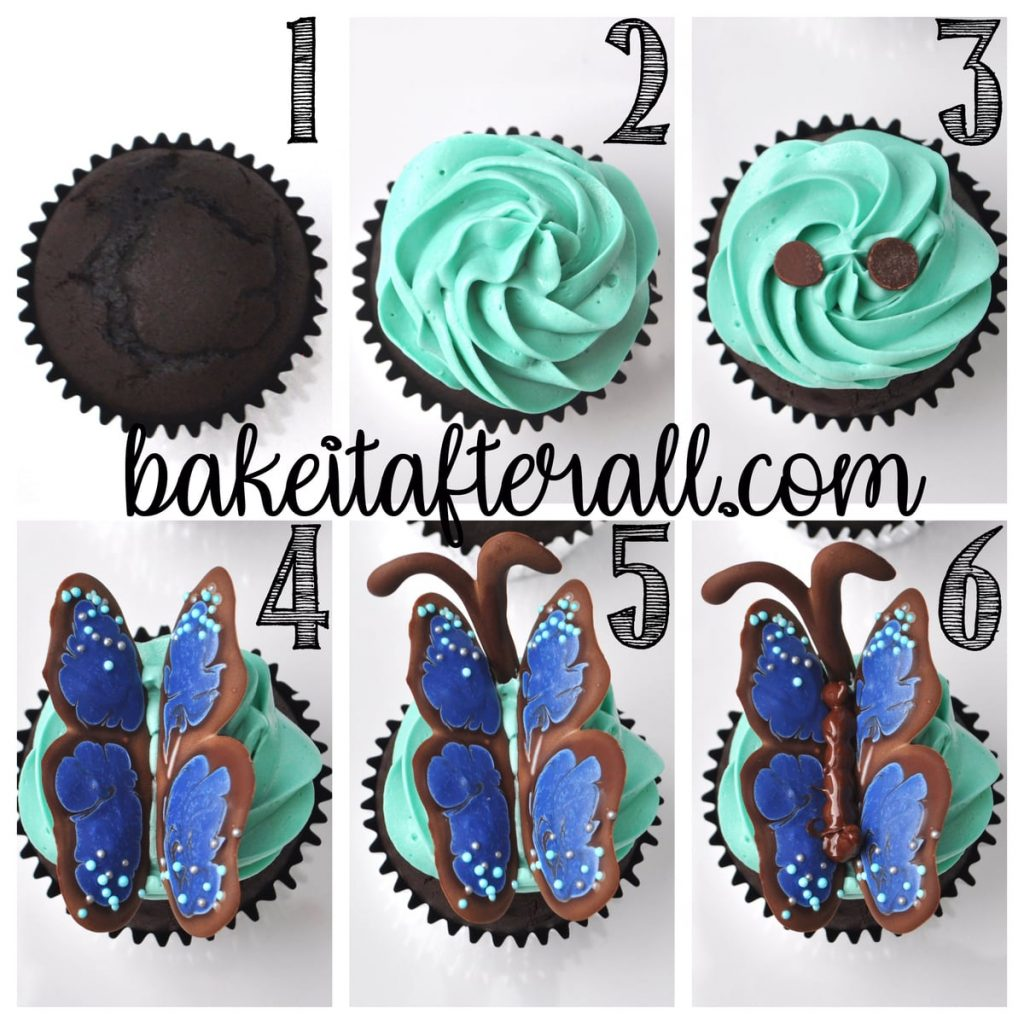 Butterfly cupcake step by step photo collage